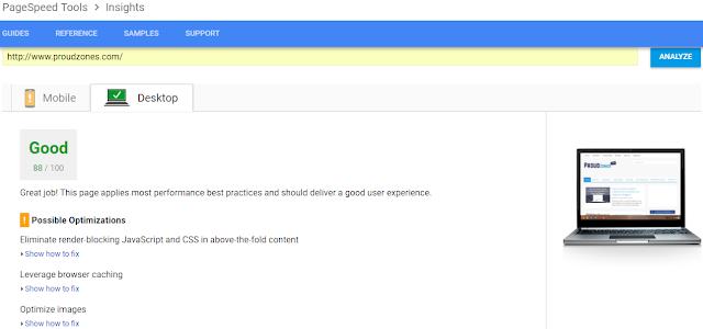 Google PageSpeed Insights speedtest tool