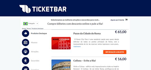 Ticketbar para ingressos em Roma