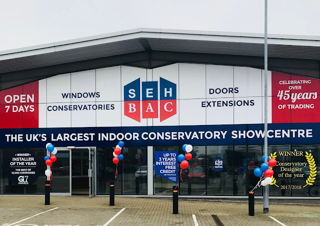 Front view of the SEH BAC Chelmsford show centre. The UK's largest indoor conservatory showcentre