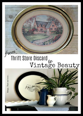 Vintage, Paint and more... making a thrift store picture into a vintage kitchen sign with paint