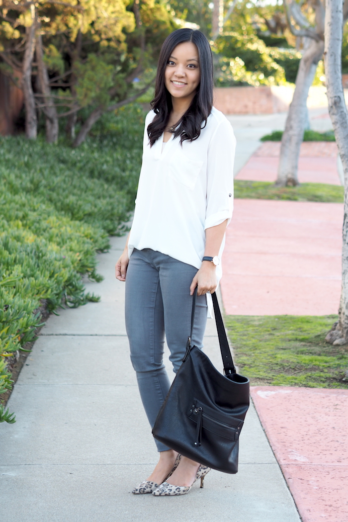 grey jeans leopard pumps