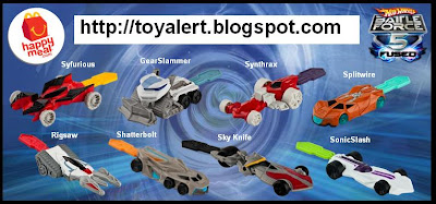 McDonalds Hot Wheels Battle Force 5 Fused set of happy meal toys 2011