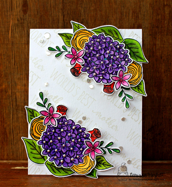 Wonderful mother floral card by Larissa Heskett |  Simply Relative & Lovely Blooms Stamp sets by Newton's nook Designs #newtonsnook