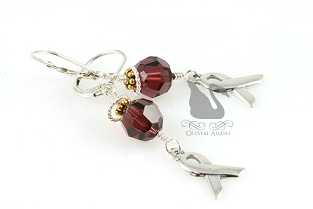 Burgundy Crystal Cystic Hygroma Awareness Earrings (EA298)
