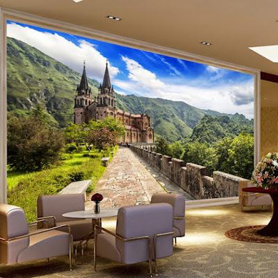 fototapet vardagsrum slott landskap vardagsrumtapet natur 3d