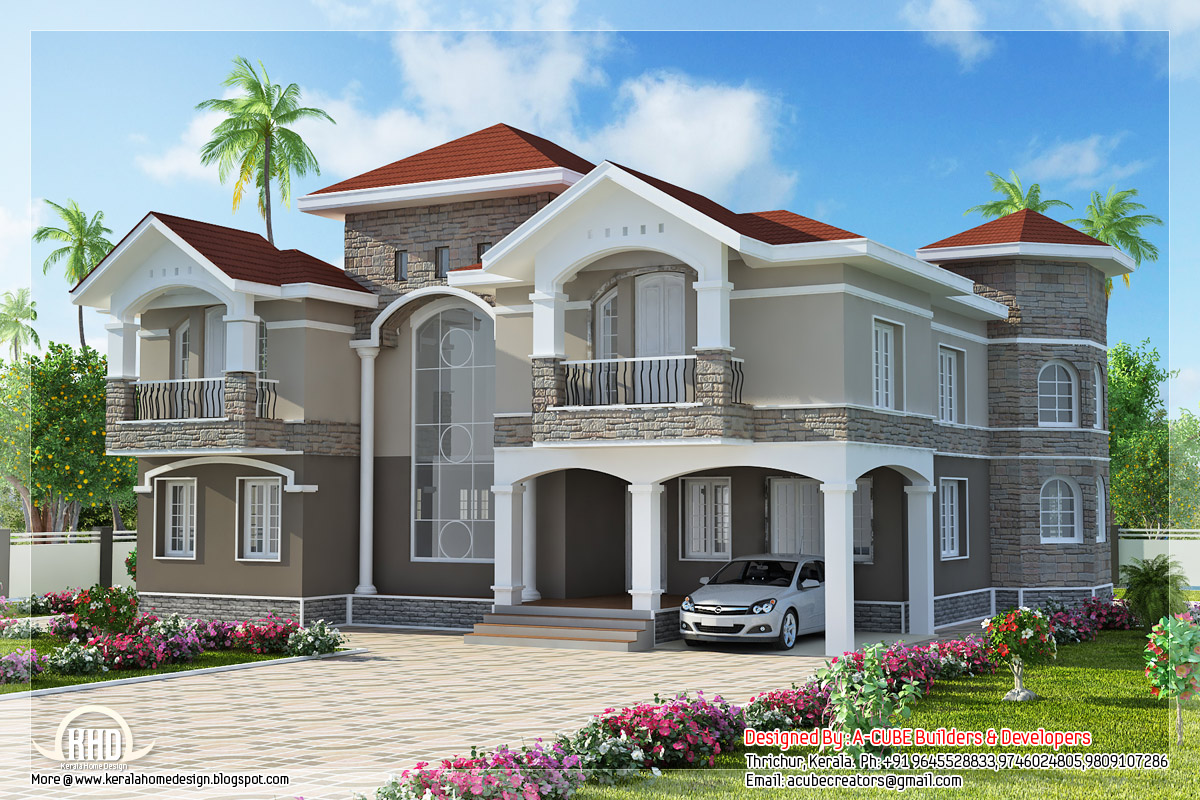 4 bedroom double floor indian luxury home design kerala for South indian small house designs