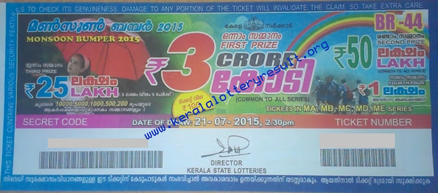 MONSOON BUMPER 2015 BR-44 Lottery Prize Structure