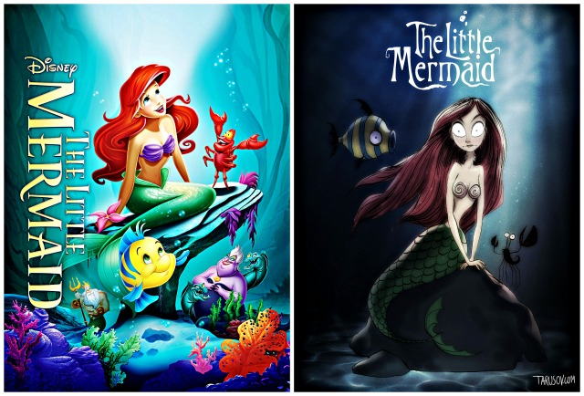 Illustrator Andrew Tarusov redesigns  Disney's classic movie character The Little Mermaid  into Tim Burton's dark gothic style via geniushowto.blogspot.com Illustrations 7