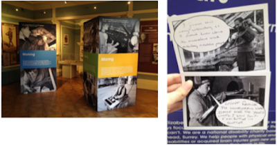 Our travelling exhibition at the Honeywood Museum, Carshalton, and an example of feedback postcards received.