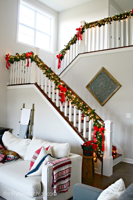 Open staircase with landing at Christmas