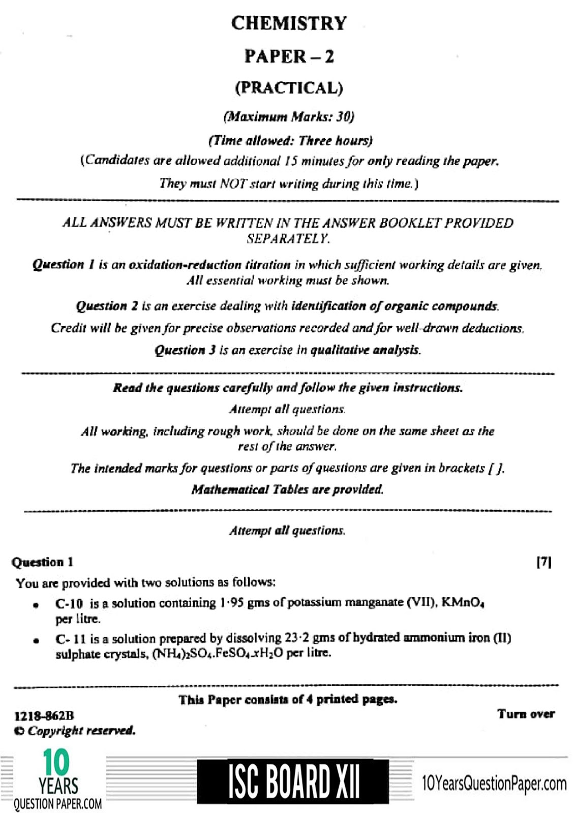 ISC 2018 class 12th chemistry Practical question paper