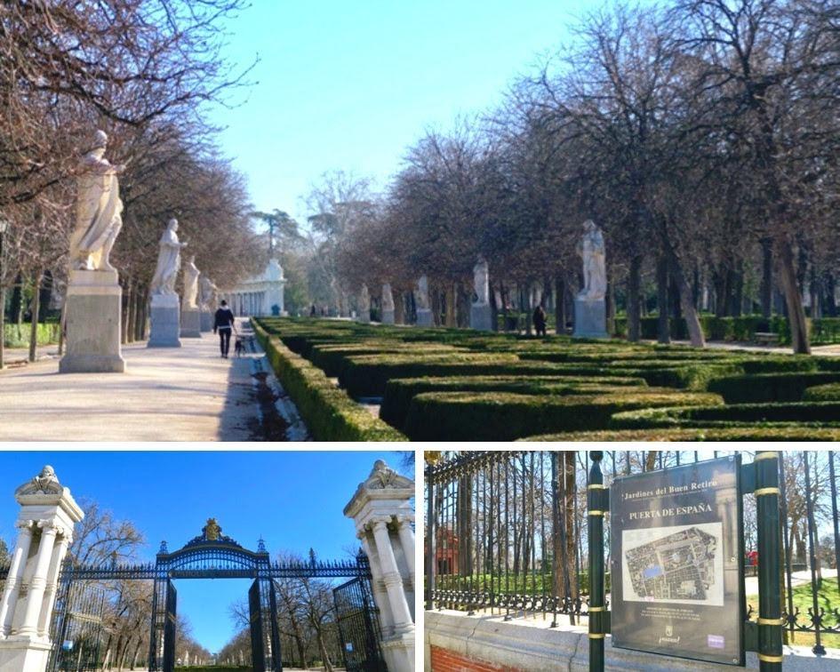 マドリードのレティーロ公園の正門のスペイン門と遊歩道