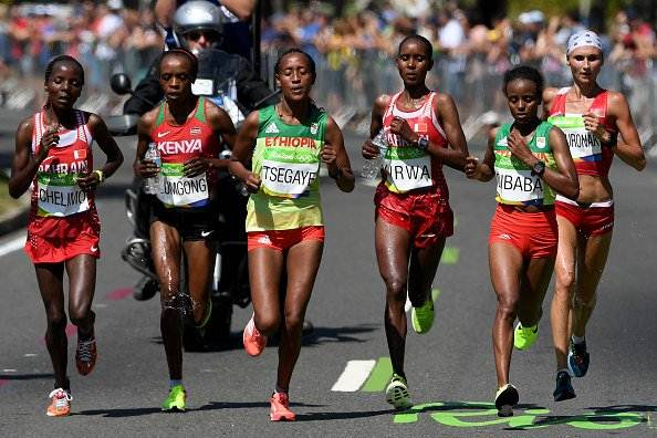 Sumgong (KENYA) wins the women's marathon in Rio 2016