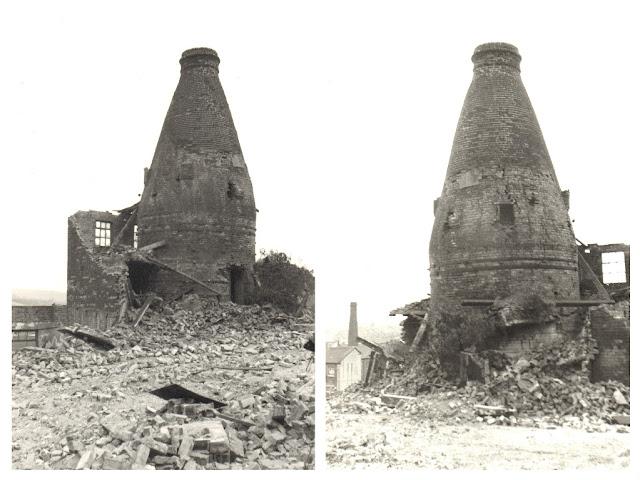 Bluebell Works, Barker Street, Longton Demolition July 1975 photo: Pam Bott, now a Woolliscroft 01