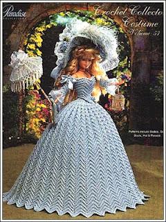 Vestido de Época em Crochê Para Boneca Barbie - Sra. Inglesa do Séc. XVIII