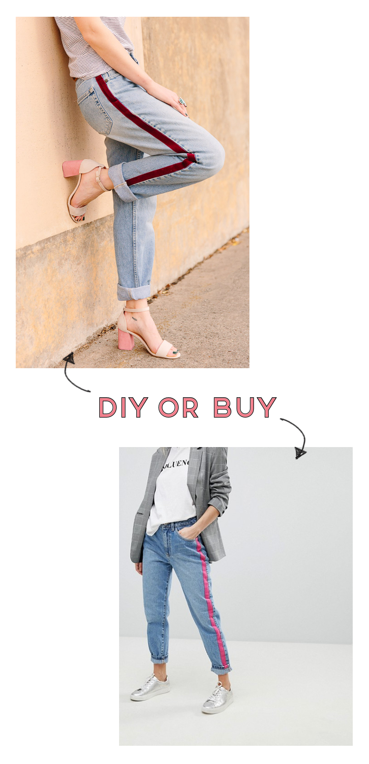 DIY OR BUY - SIDE STRIPED JEANS.