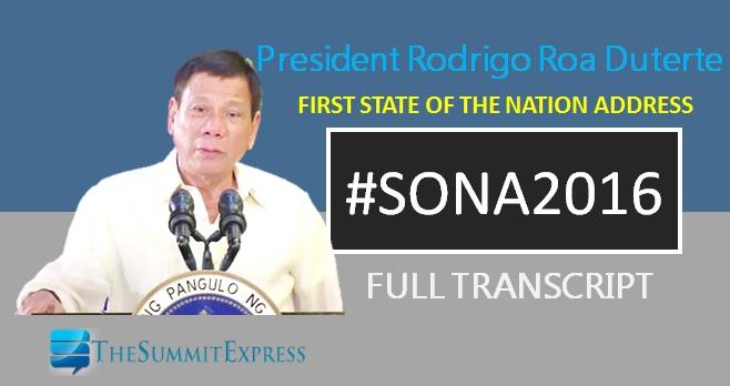 President Duterte SONA 2016 speech (English, Tagalog)