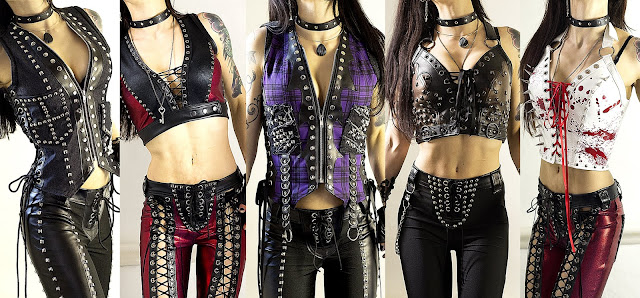 Metal clothing including studded vests, crop tops & vests