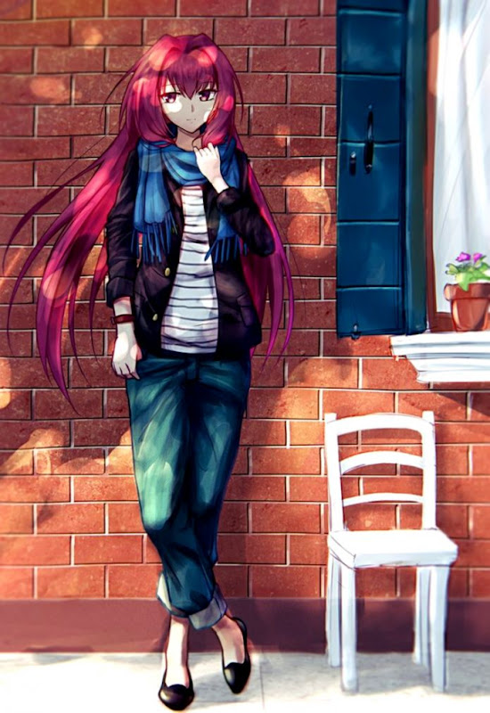 Red haired anime girl with red eyes