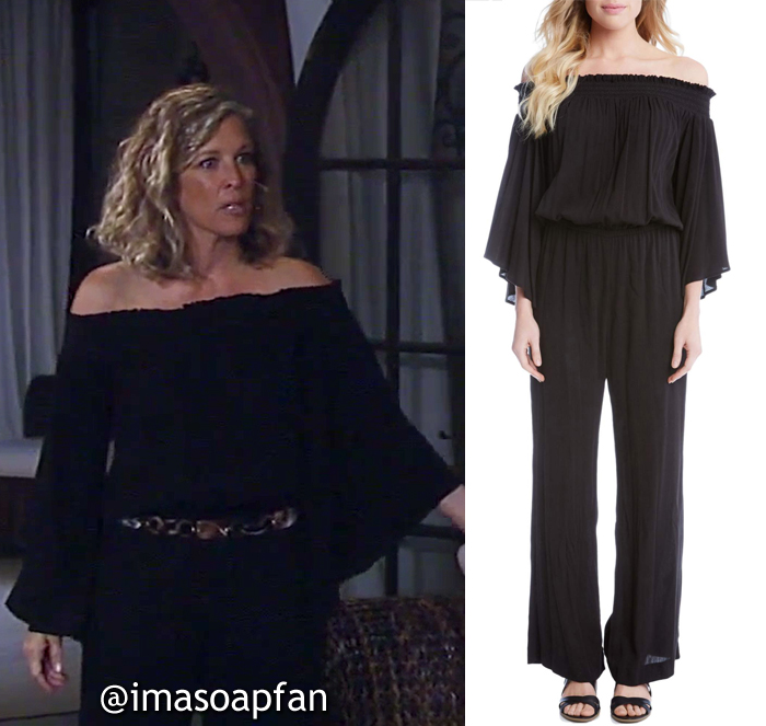 Carly Corinthos, Laura Wright, Smocked Black Off-the-Shoulder Jumpsuit, Karen Kane, GH, General Hospital