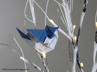 Blue jay designed by Seth Friedman, photo and origami ©2018 Tina M. Welter