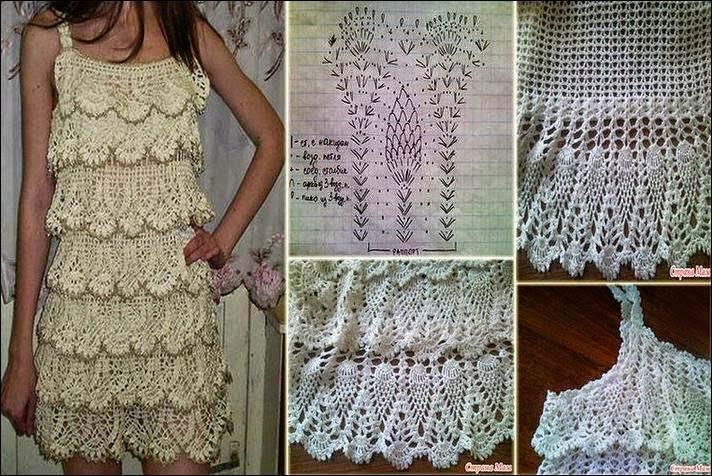 Vestido de piñas - con patrón | Crochet y Dos agujas - Patrones de ...