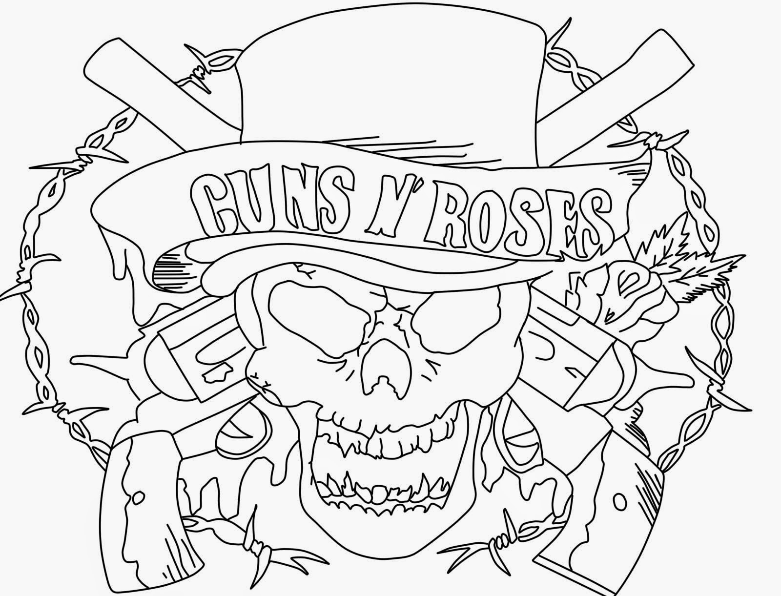 Guns And Roses Logos Coloring Coloring Pages