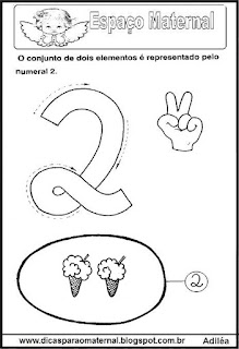 Desenho numeral 2 para colorir