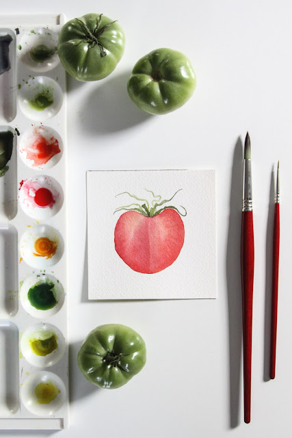 painting, 30 paintings 30 days, watercolor, daily painting, tomatoes, Anne Butera, My Giant Strawberry