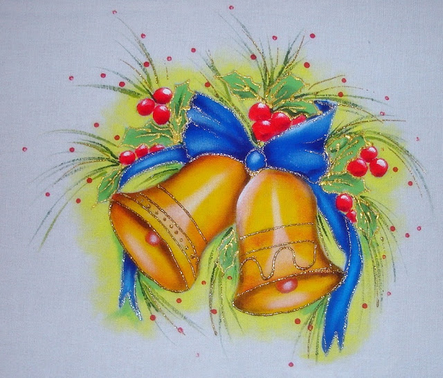 pintura em tecido motivo natalino sinos