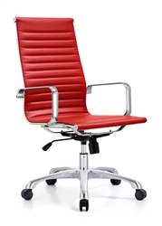Ribbed Red Leather Conference Chair