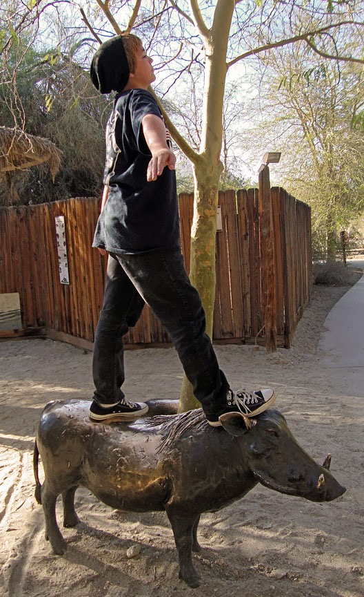 warthog sculpture at theLiving Desert Zoo