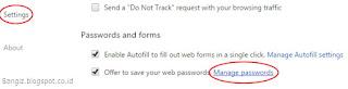 manage password chrome