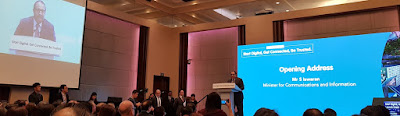 Minister S Iswaran delivering the opening address.