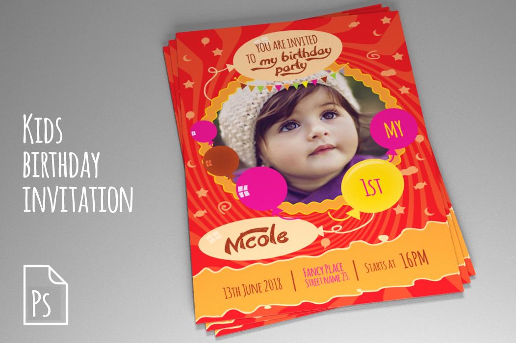 Indesign Templates Indesign Templates Kids Birthday Invitation Psd