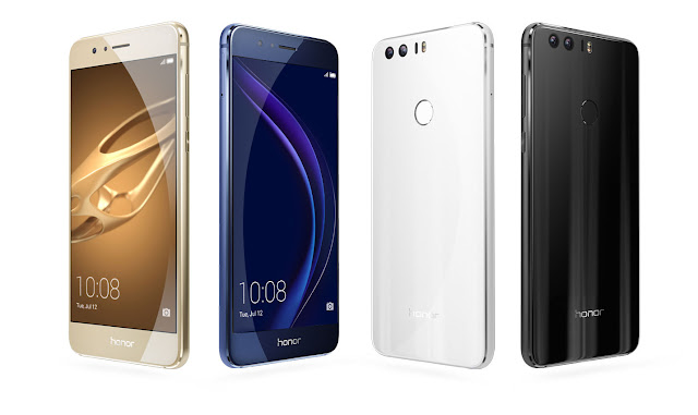 Honor 8 price in Malaysia start from RM1699 and available in four colors (Black, White, Blue and Gold)