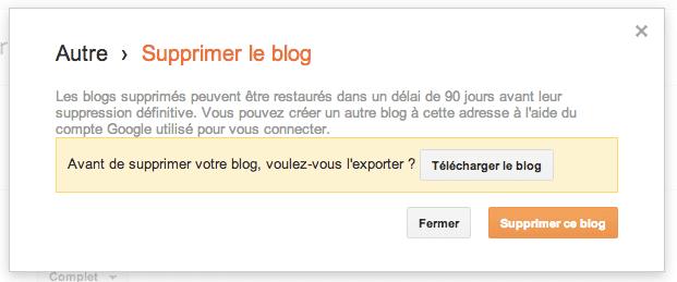 Comment supprimer un compte Blogger Blogspot