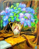 original oil painting on canvas Lilacs in an Antique Vase