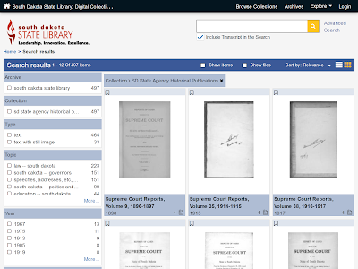 screenshot of state agency historical publications collection webpage