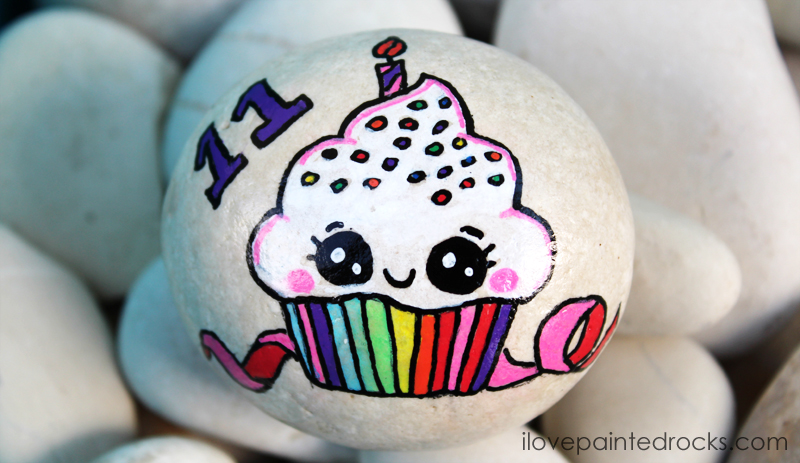 cute rock painting ideas for birthdays and cupcakes