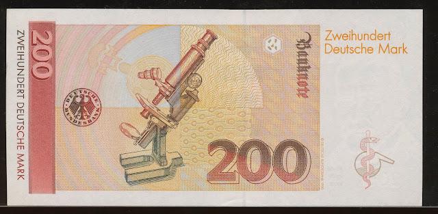 Old German banknotes currency 200 DM Deutsche Mark Bundesbank