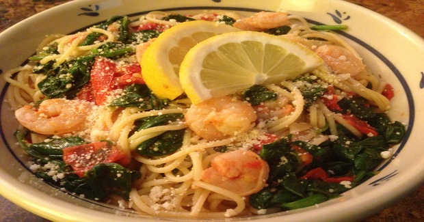 Zesty Shrimp Pasta With Tomatoes And Spinach Recipe