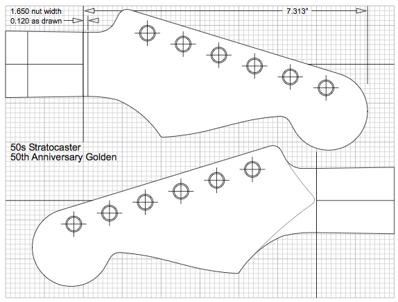 Guitar kit builder siena 39 s stratocaster shaping the for Stratocaster headstock template