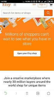 Etsy Aplikasi Menghasilkan uang di Android
