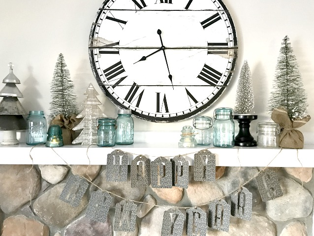winter mantel with Mason Jars