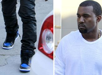 c4aaa72e041d70 Here is some new photos of Kanye West Rockin Air Jordan 1 Black Royal  Sneakers with the sexy Kim Kardashian by his side. Looks Like Jordan Brand  is ...