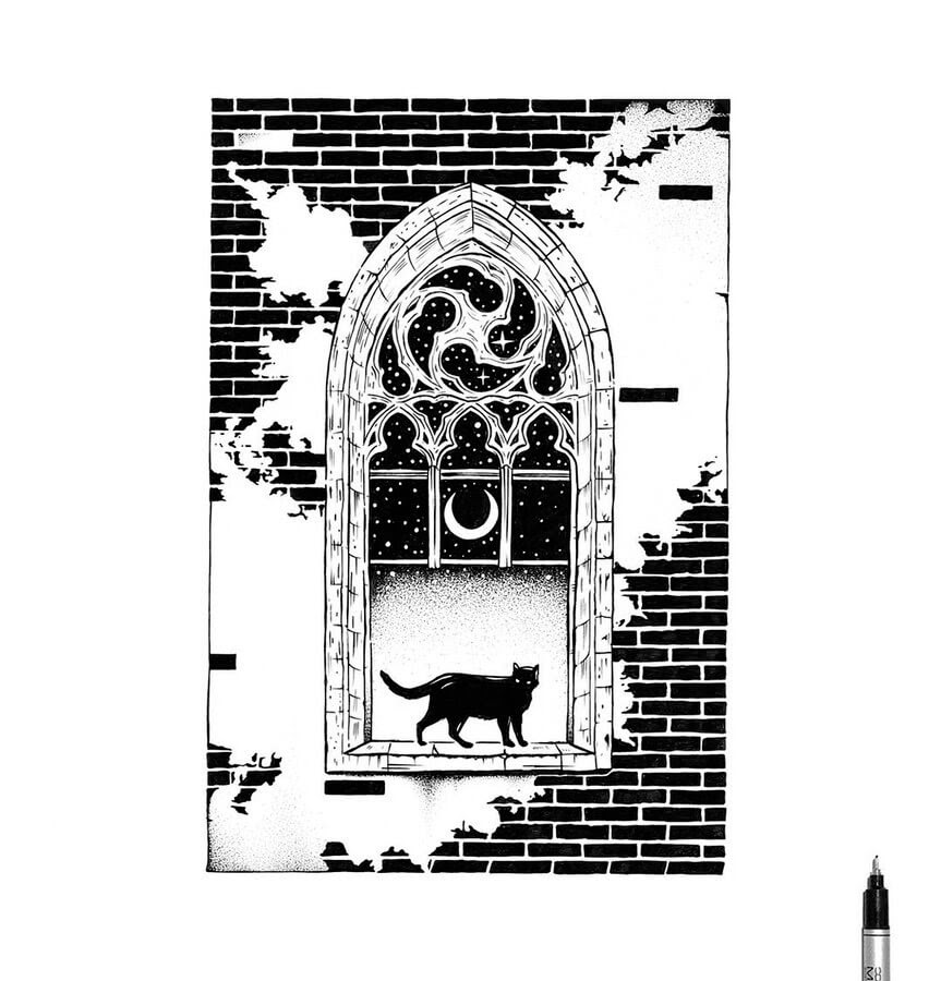 01-Black-Cat-Gothic-Window-Thiago-Bianchini-www-designstack-co
