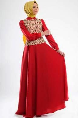 Tren gaun pesta muslim dengan perpaduan warna yang berani