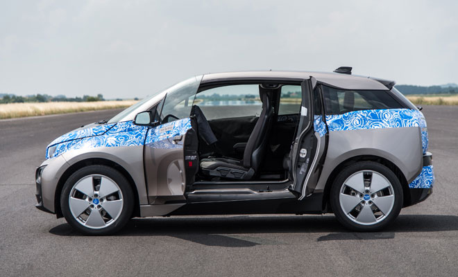 BMW i3 in light disguise - side view doors open
