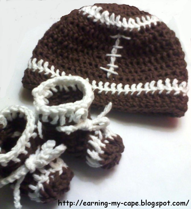 Earning My Cape Newborn Football Hat And Booties Set Free Crochet